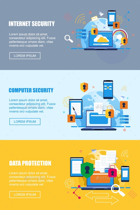 Flat Banner Internet Security Computer Security - Concepts Business