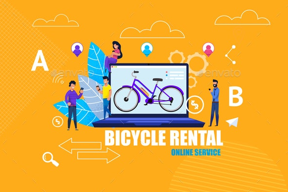 Flat Banner Bicycle Rental Online Service App - Industries Business