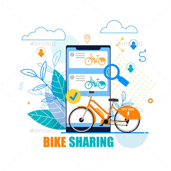 Flat Banner Bike Sharing on White Background - Industries Business