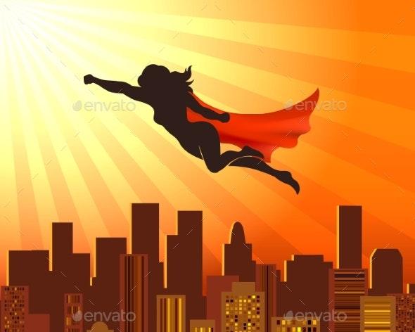 Flying Girl Superhero - People Characters