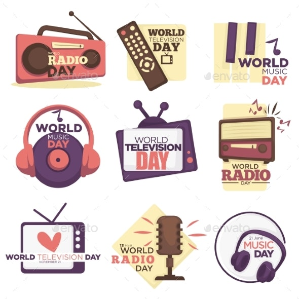 World Video and Audio Media Resources Day Isolated - Retro Technology