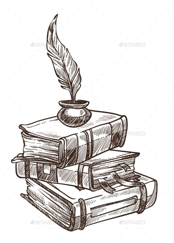 Antique Books with Bookmarks and Feather with Ink - Miscellaneous Vectors