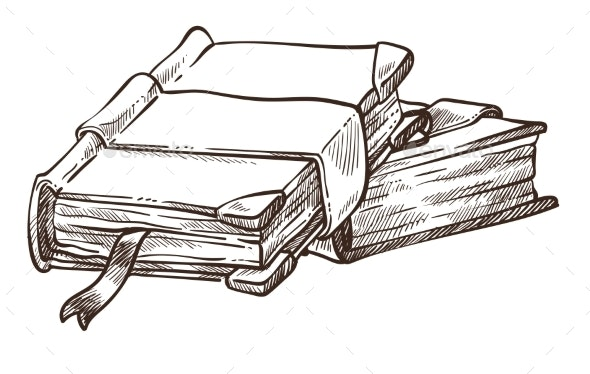 Books with Antique Covers and Bookmarks Monochrome - Miscellaneous Vectors