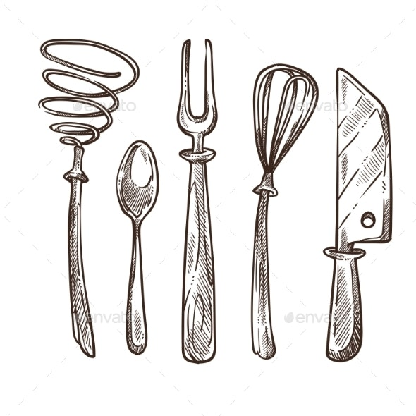 Cutlery and Utensils Used While Cooking Lunch - Man-made Objects Objects