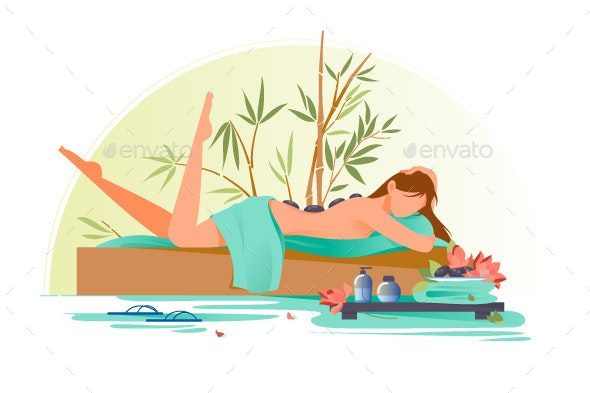 Woman Character in Spa - Sports/Activity Conceptual