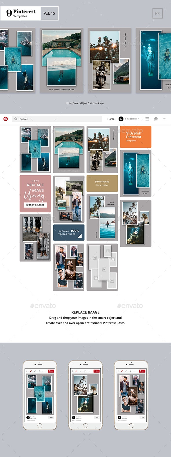 Pinterest Templates Vol. 15 - Social Media Web Elements
