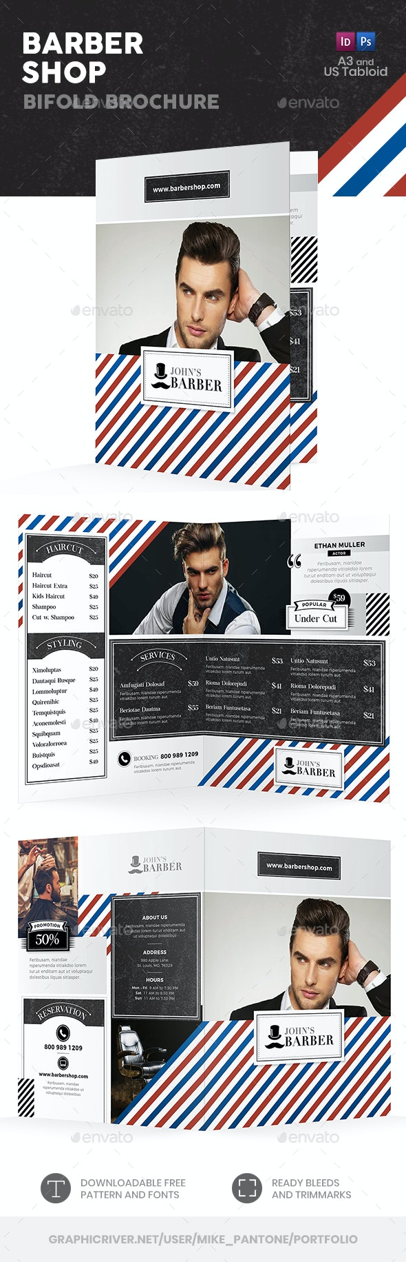 Barber Shop Bifold / Halffold Brochure - Informational Brochures
