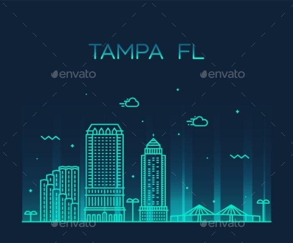 Tampa Skyline Hillsborough Florida USA City Vector - Buildings Objects