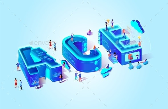 Ace Vector Isometric Illustration Cloud System - People Characters