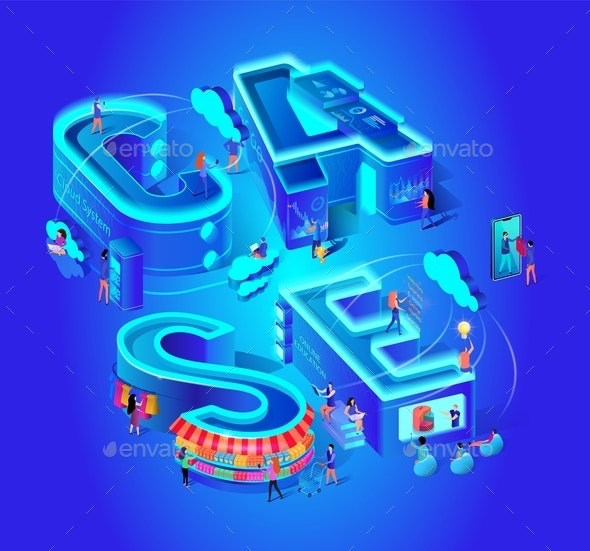 Case Vector Isometric Illustration Cloud System - Concepts Business