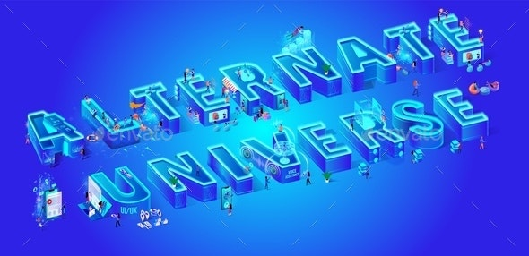 Alternate Universe Vector Illustration Isometric - People Characters