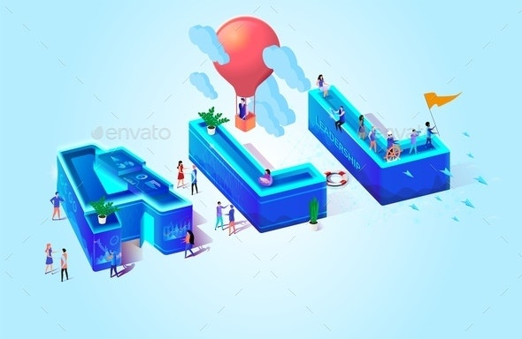 All Digital Vector Isometric Illustration Letters - People Characters