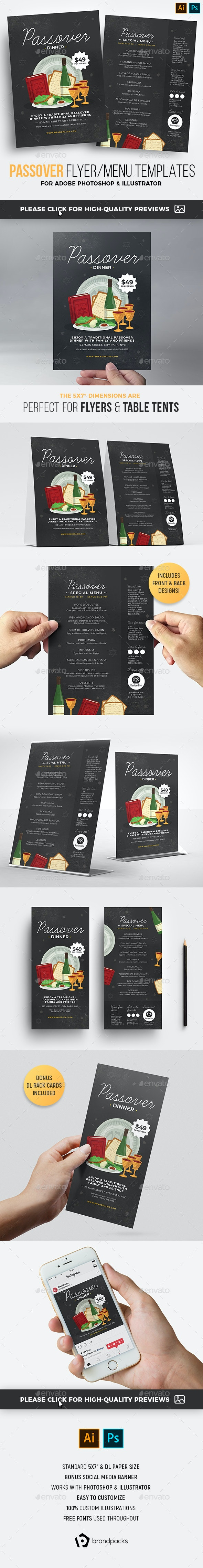 Passover Flyer / Menu Templates - Holidays Events