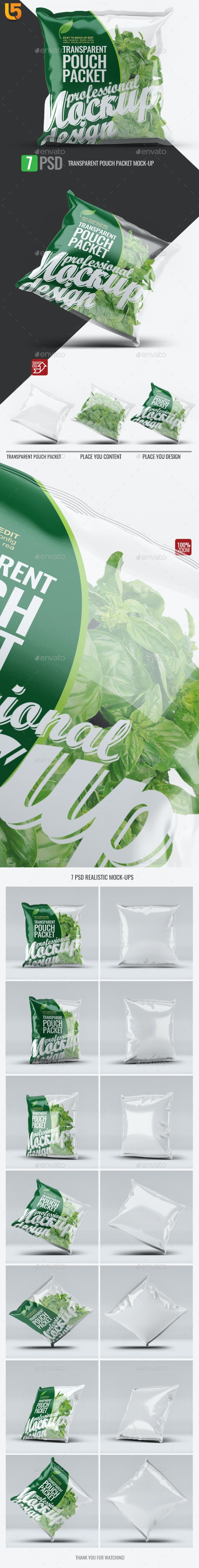 Transparent Pouch Packet Mock-Up - Food and Drink Packaging