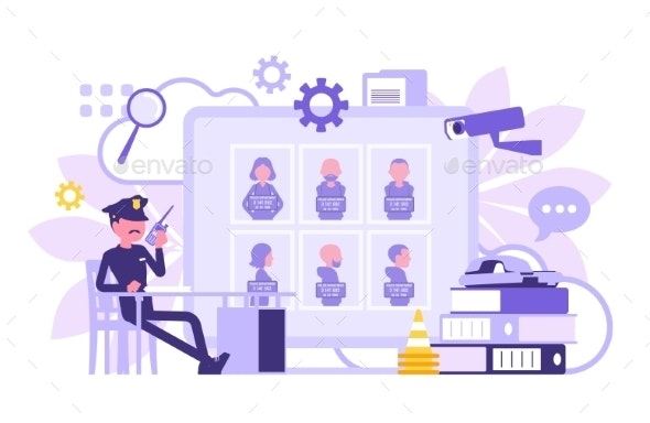 Policeman Working in a Police Station Office - People Characters