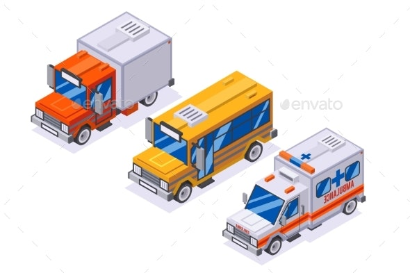 Isometric Automobile Van Transportation School - Man-made Objects Objects