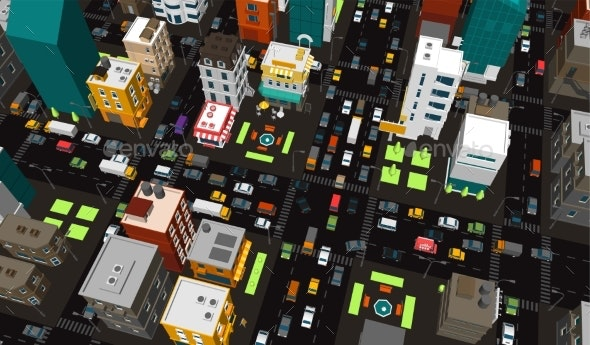 Town District Street Intersection - Buildings Objects