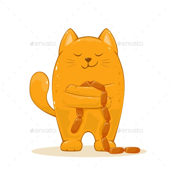 Happy Cat with Sausages - Animals Characters