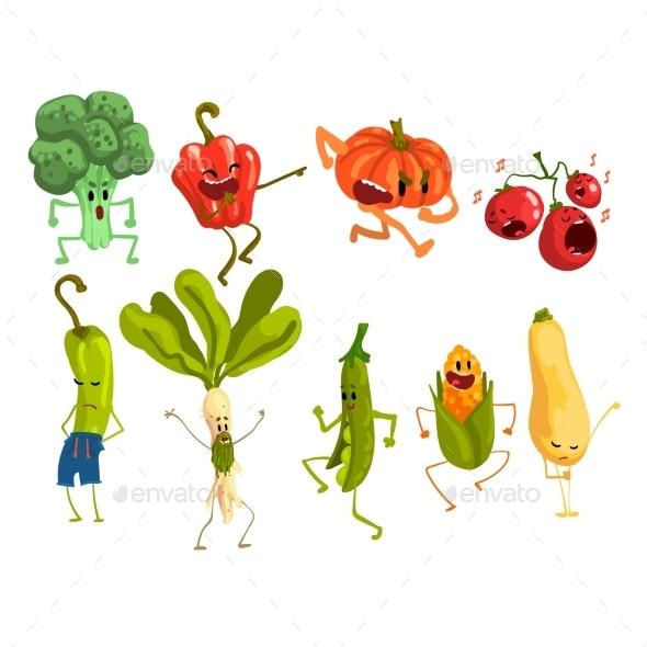 Cartoon Vegetables Set - Food Objects