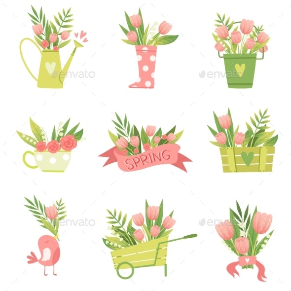 Bouquets of Flowers in Vases and Pots of Various - Flowers & Plants Nature