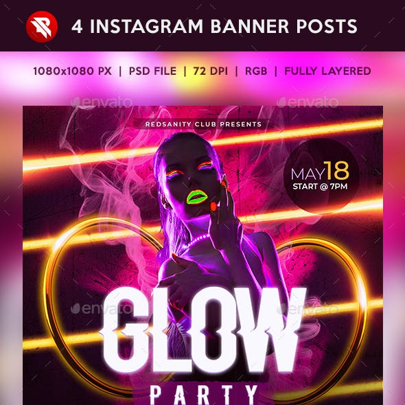 Glow Party Instagram Banner Posts