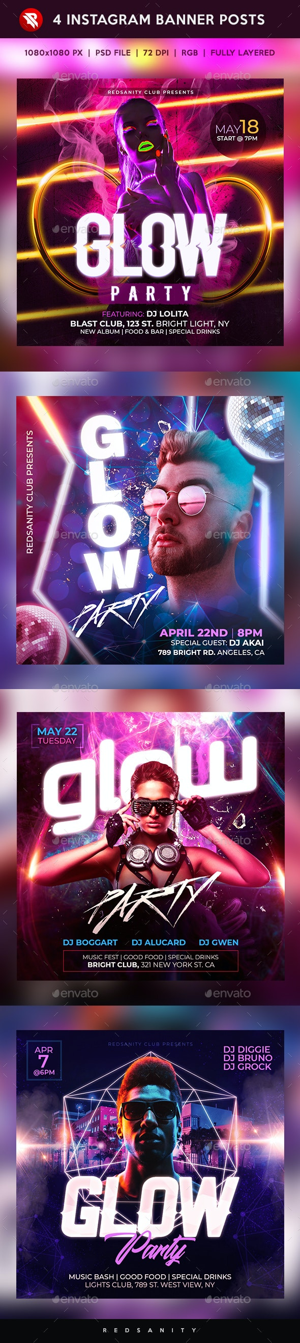 Glow Party Instagram Banner Posts - Social Media Web Elements