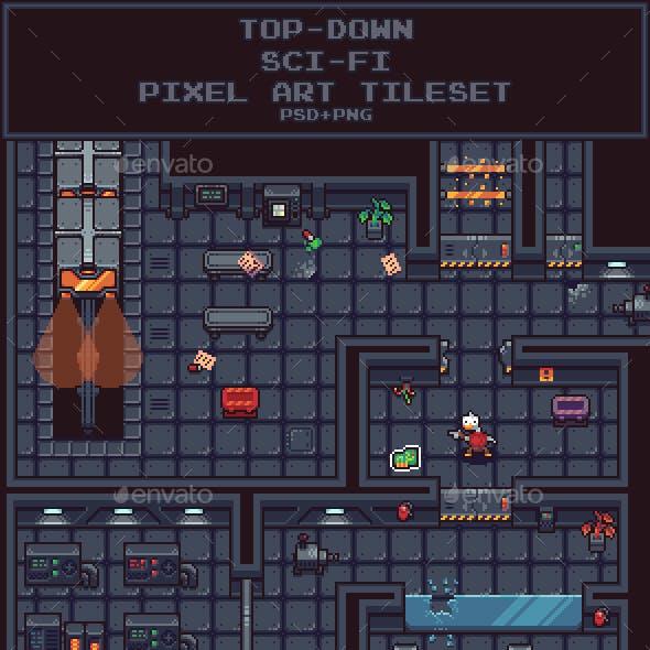 Top-Down Sci-Fi Pixel Art Tileset