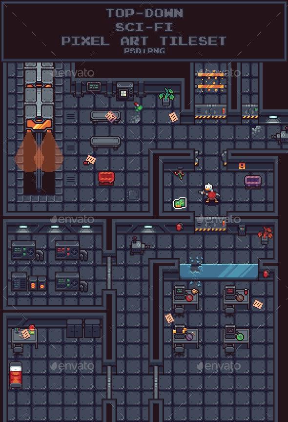 Top-Down Sci-Fi Pixel Art Tileset - Tilesets Game Assets