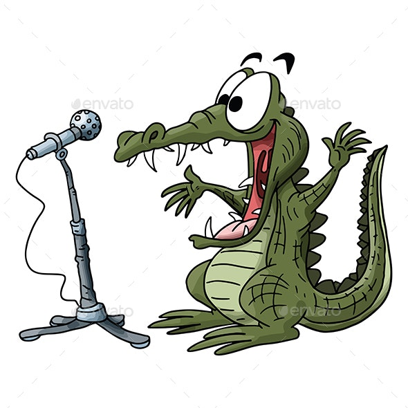 Cartoon Alligator Making a Speech on Stage Vector Illustration - Animals Characters