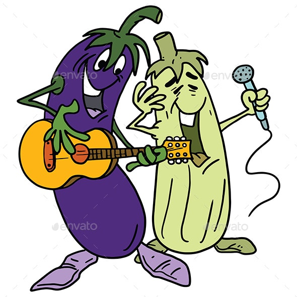 Cartoon Vegetables Playing Guitar and Singing Vector Illustration - Food Objects