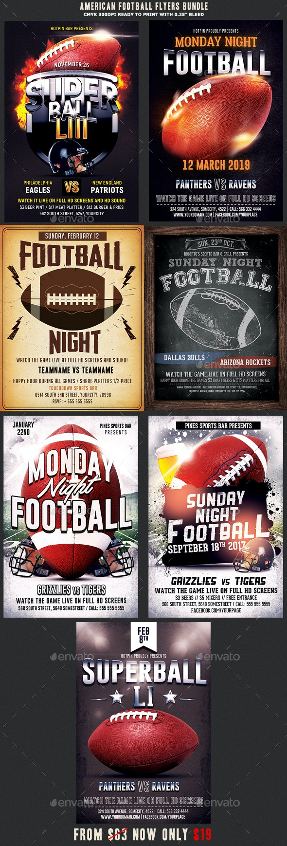 American Football Flyer Template Bundle - Sports Events