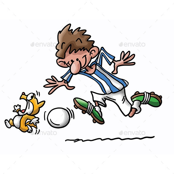 Cartoon Cat and Man Playing Football Vector Illustration - Sports/Activity Conceptual