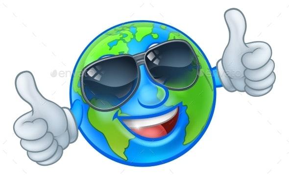 Earth Globe Sunglasses Cartoon Mascot - Miscellaneous Characters