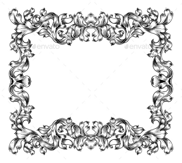Frame Border Pattern Filigree Scroll Leaf Vintage - Borders Decorative