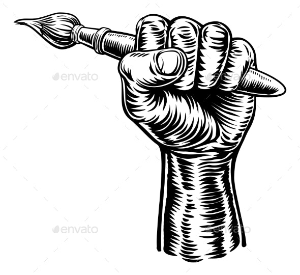 Hand Holding Artists Paintbrush - Miscellaneous Vectors