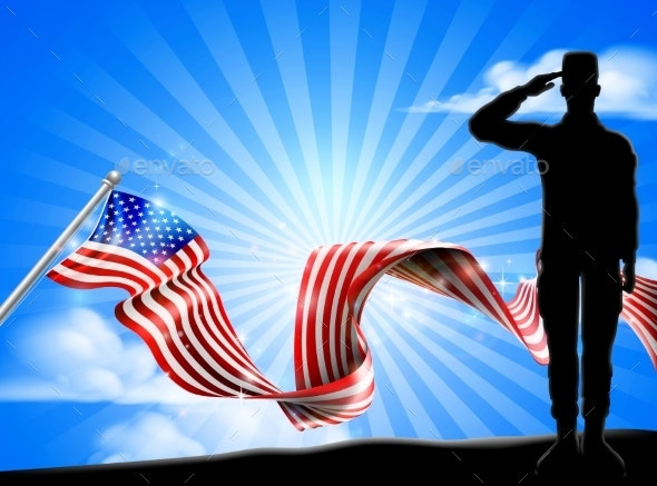 American Flag Patriotic Soldier Salute Background - Miscellaneous Seasons/Holidays