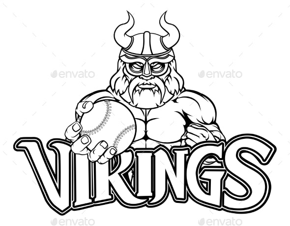 Viking Baseball Sports Mascot - Sports/Activity Conceptual