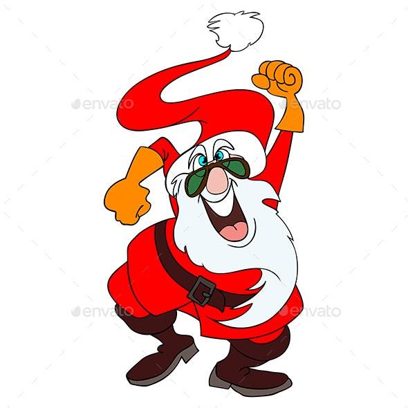 Mad Santa Claus Partying Vector Illustration - Christmas Seasons/Holidays