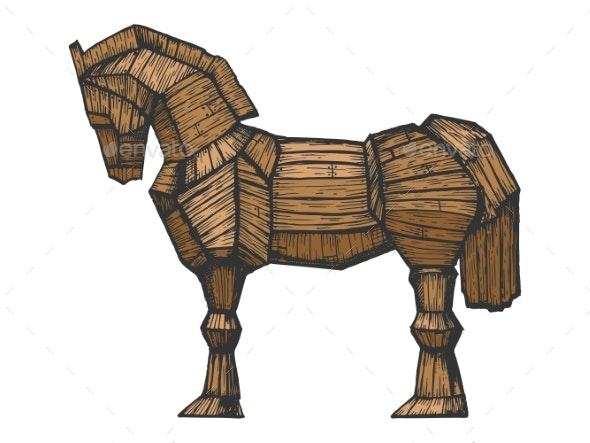 Trojan Horse Color Sketch Engraving Vector - Miscellaneous Vectors