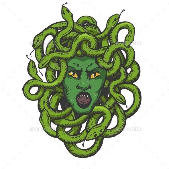 Medusa Greek Myth Creature Color Sketch Engraving - Monsters Characters