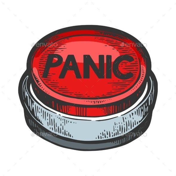 Panic Button Color Sketch Engraving Vector