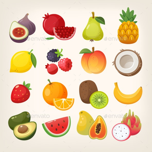 Fruit Vector Icons - Food Objects