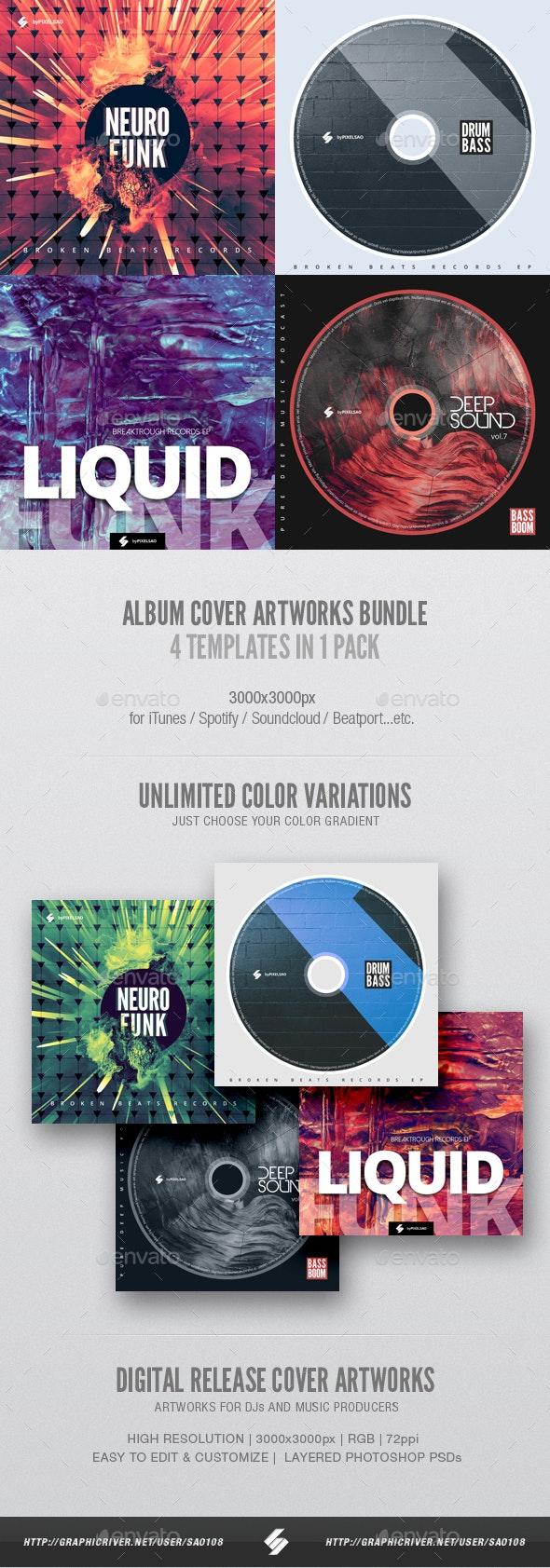 Electronic Music Album Cover Artwork Templates Bundle 8 - Miscellaneous Social Media