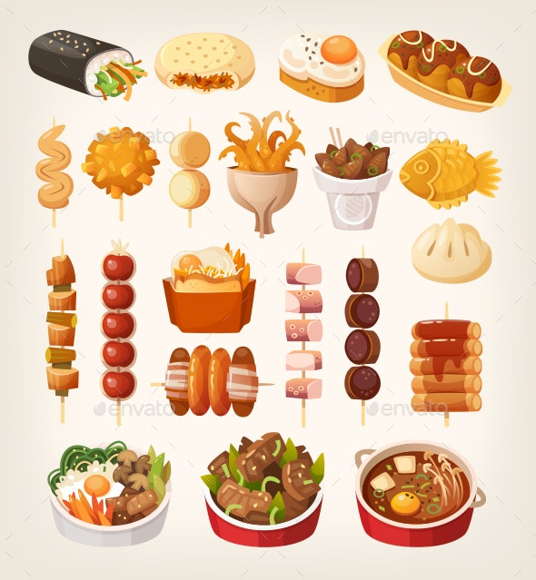 Fast Food from Asian Streets Vector Images - Food Objects