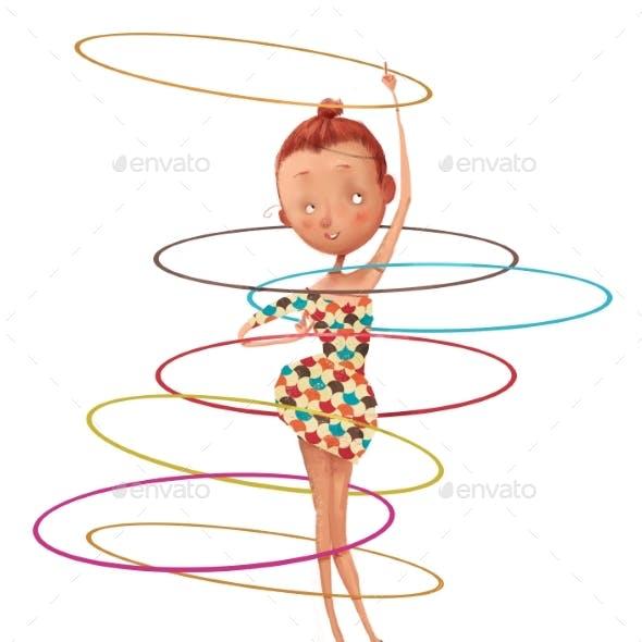 Cute Cartoon Girl with Hoops