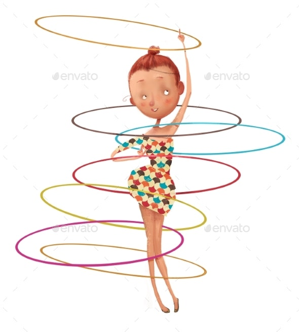 Cute Cartoon Girl with Hoops - People Illustrations
