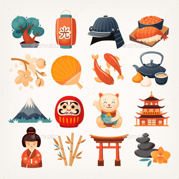Japanese Culture Vector Objects Icons - Travel Conceptual