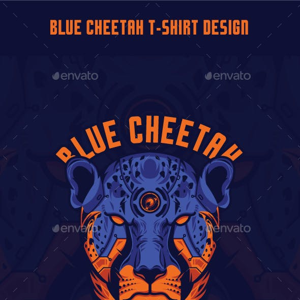 Blue Cheetah T-Shirt Design