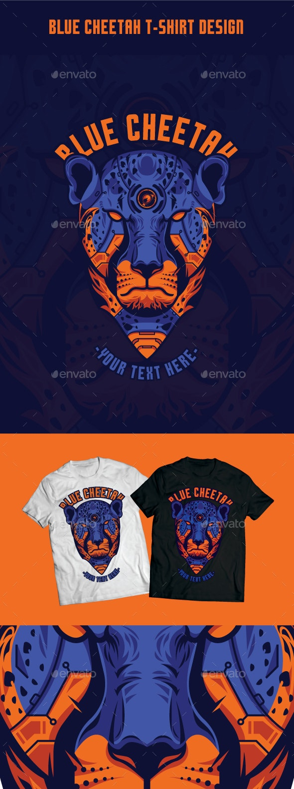 Blue Cheetah T-Shirt Design - T-Shirts