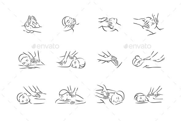 Vector Illustration Concept of Massage Body Relax - People Characters